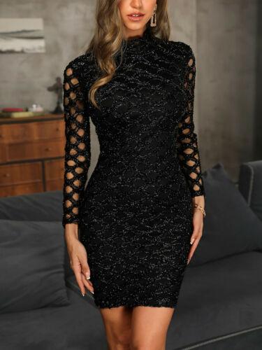 Women Bodycon Glitter Knit Dress Slim Fit Tight Skirt Cocktail Party Club Black
