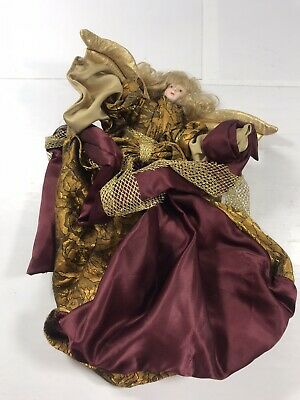 Christmas Tree Topper Angel Gold Maroon Bendable Holiday Decoration Decor Xmas