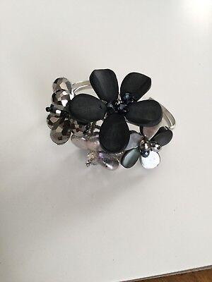 Nakamol Flower Freshwater Pearl Lucite Cuff Cluster Bracelet New