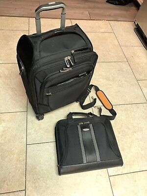 "20"" Samsonite Carry On Rolling Luggage & Business Briefcase Messenger Black NICE"