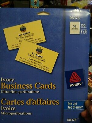 Avery 8376 Ivory Ink Jet Professional Business Cards 250 Cards New Free Ship