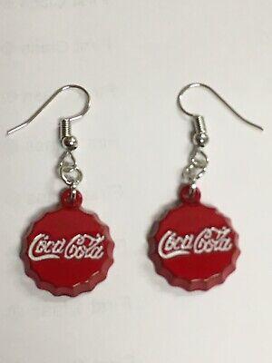 Miniature Coca Cola Bottle Cap Earrings/ Dangle Hook Earrings/Women/Soda/Coke
