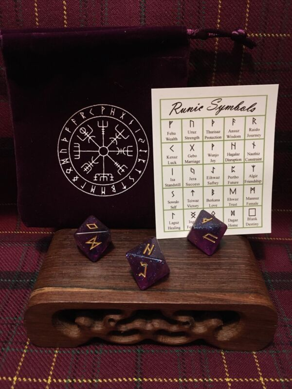 Eight Sided Viking/Celtic Rune Set W/ Symbol Chart And Bag Divination