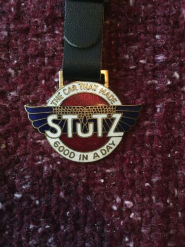 Vintage Stutz Motor Car Company Watch Fob - Indianapolis, IN - Leather Strap