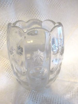 "Vintage Clear Pressed Glass Toothpick Holder 4.25"" tall floral - ZLL"
