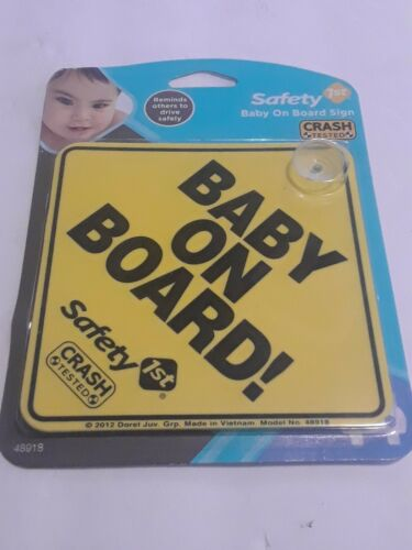 """Safety 1st """"Baby On Board"""" Sign 1 Yellow New"""