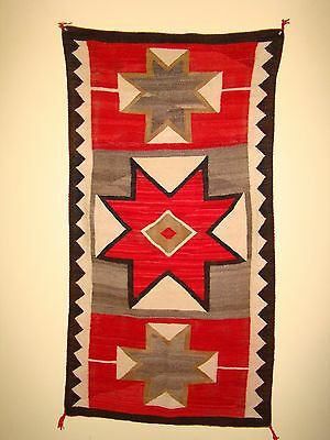 Antique Pictorial Navajo Rug Native American Blanket Weaving Stars and Crosses