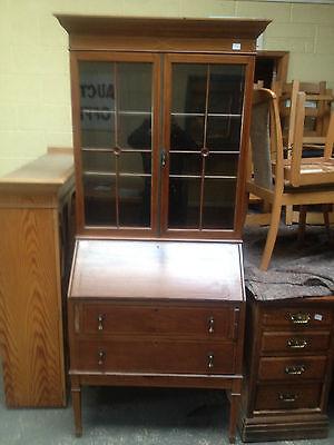 Good Edwardian Inlaid Mahogany Bureau Bookcase Cabinet Cupboard Writing Desk
