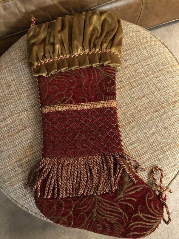 "23"" Burgundy Crushed Velvet Brocade Tapestry And Fringe &Trim Christmas Stocking"