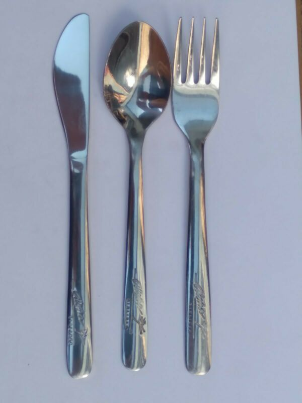 Aloha Airlines Dining Set - Fork, Knife & Spoon- All Stamped Sola on Reverse