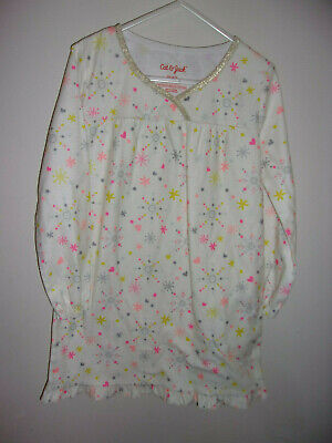 GIRLS XS 4 5 LONG NIGHTGOWN NIGH GOWN BY CAT & JACK SNOWFLAKES FALL WINTER