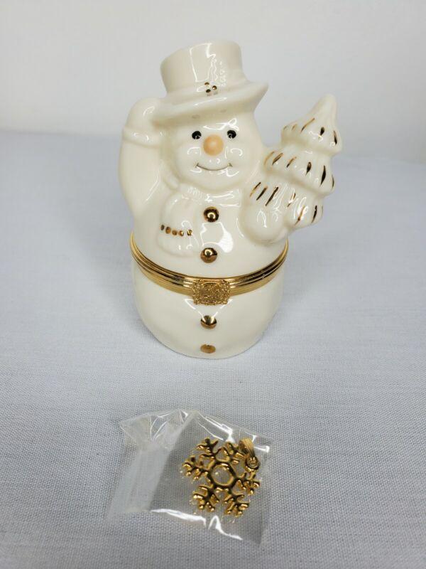 Lenox treasures hinged Snowman trinket box 1st issue w/ Snowflake charm