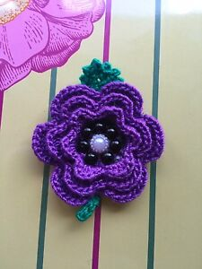 Small Purple Crochet Poppy Brooch For Remembrance Day