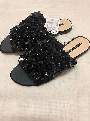 New ZARA Basic Collection Women`s Black Embellished Slide Flat Shoes sz 5 M/35