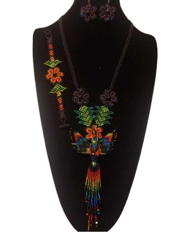 huichol art,3 pcs mexican women
