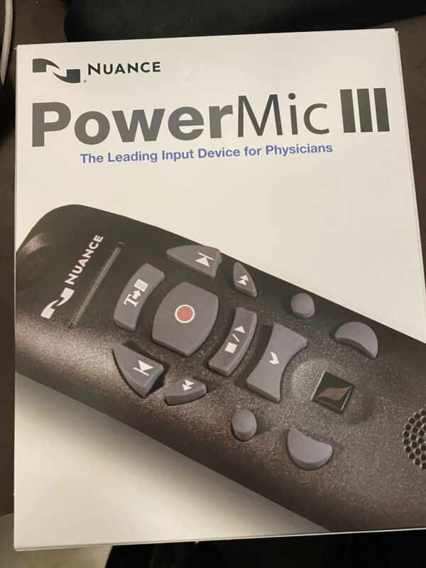 Nuance PowerMic III Microphone. NEW In BOX With 9FT Cord.
