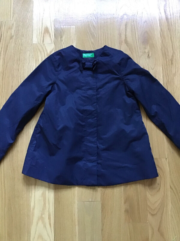 Luxe United Colors of Benetton Girls Size 6/7 Navy Blue Raincoat,Cotton Blend