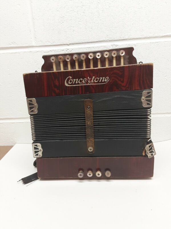Vintage German Made Concertone Button Box Accordion