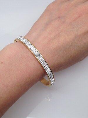 - Stainless Steel Pave Cz Bangle Bracelet Womens 6.5