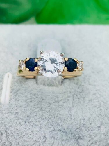 14K Gold Diamond & Sapphire Wrap Enhancer Ring- Vintage, Estate- Size 6