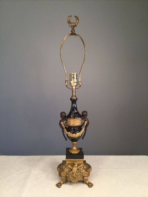 🔴Mid-Century Brevettato Table Lamp Black Marble Brass/Bronze Cherubs Paw Feet