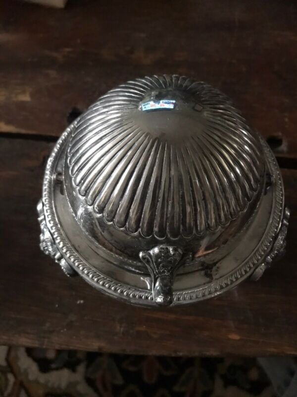 Antique Domed Butter Caviar Server Dish Roll Top Lid Silver Plated  Lion