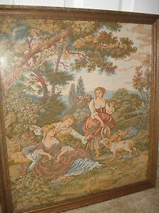 VINTAGE ANTIQUE FRENCH AUBUSSON WALL TAPESTRY LATE 19TH CENTURY