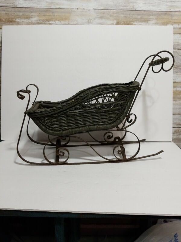 VTG WICKER AND IRON DOLL SLEIGH