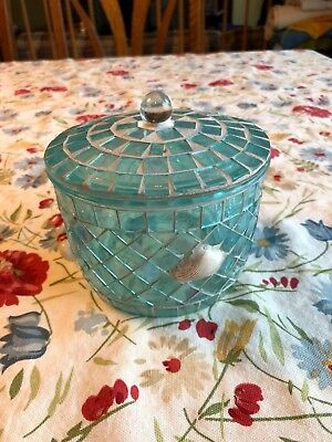 Decorative Glass Container with Lid with Shells on Outside - Decorative Glass Containers With Lids