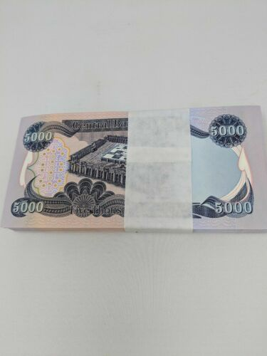 25,000 IRAQI DINAR 5 x 5,000 UNCIRCULATED CURRENCY 5 x 5000