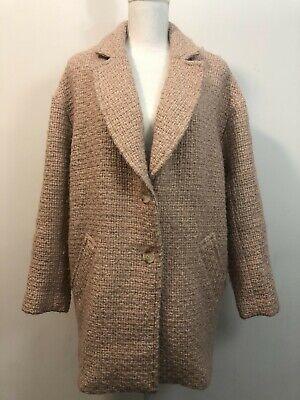 Abercrombie & Fitch Wool Blend Overcoat Jacket Blazer Blush Pink Women's Size L