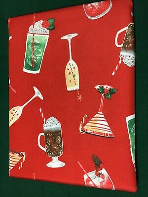 ISAAC MIZRAHI NEW YORK TABLECLOTH EASY CARE  RED COCKTAILS DRINKS  60x84 NIP