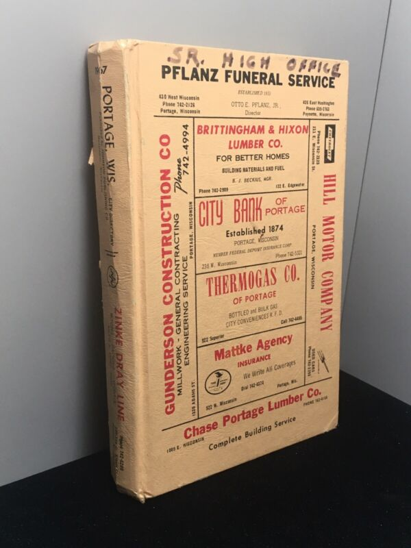 1967 Portage, WI Directory Cross Reference By Name Address Phone - Genealogy