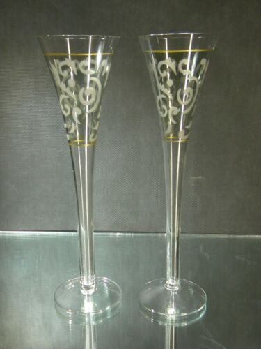 PAIR Tall Green with Gold Accents Champagne Flutes