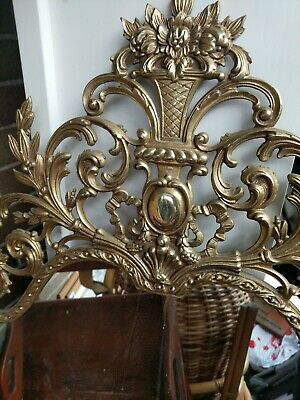 Large Vintage Ornate Heavy Brass Look Metal Mirror Gilt