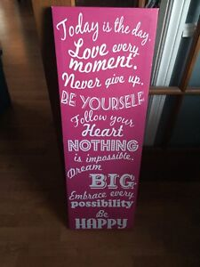 Pink quote canvas wall hanging