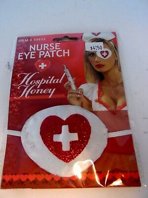 Nurse Eye Patch Red Glitter Heart Hospital Honey Theatrical Costume Halloween