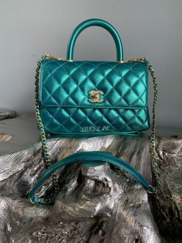 NWT CHANEL Coco Handle Metallic GREEN BLUE Iridescent Mermaid Bag 2019 19A SMALL