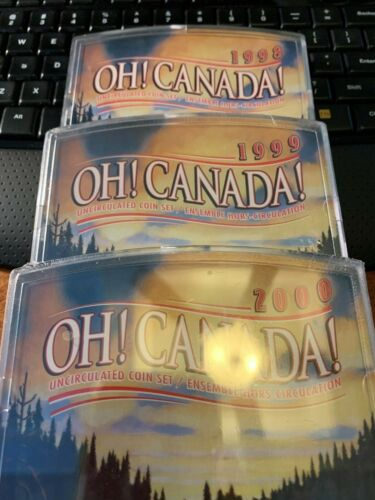 """""""THREE"""" Oh! Canada! Uncirculated Canandian Mint Coin Sets 1998-1999-2000!"""