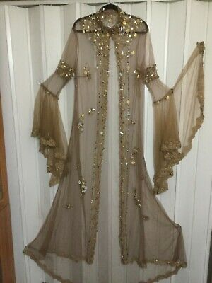 Bust 40 Tall beaded evening Jacket boho Ethnic Cardigan Abaya party cover tulle