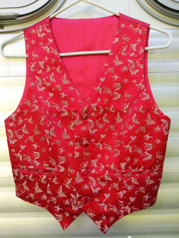 Beautiful Red Butterfly Saddleseat Vest Youth size 10