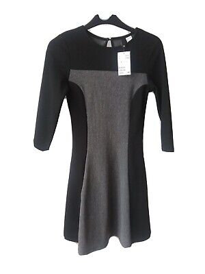 DIVIDED office dress size 6 brand new black grey