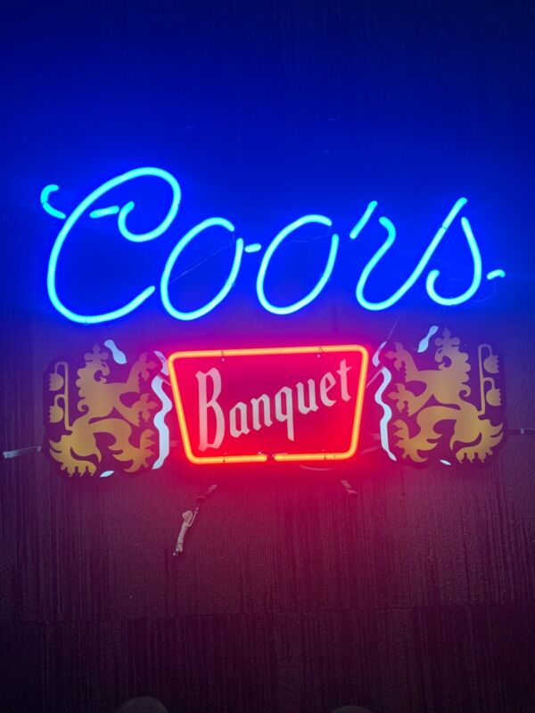 "OFFICIAL, COORS BANQUET NEON BEER BANQUET LIGHTED SIGN RARE USA 21""x 30"" 2016"