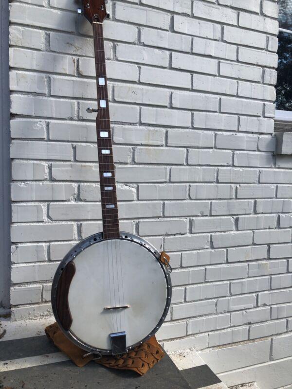 Aria Mahogany Long Neck Banjo