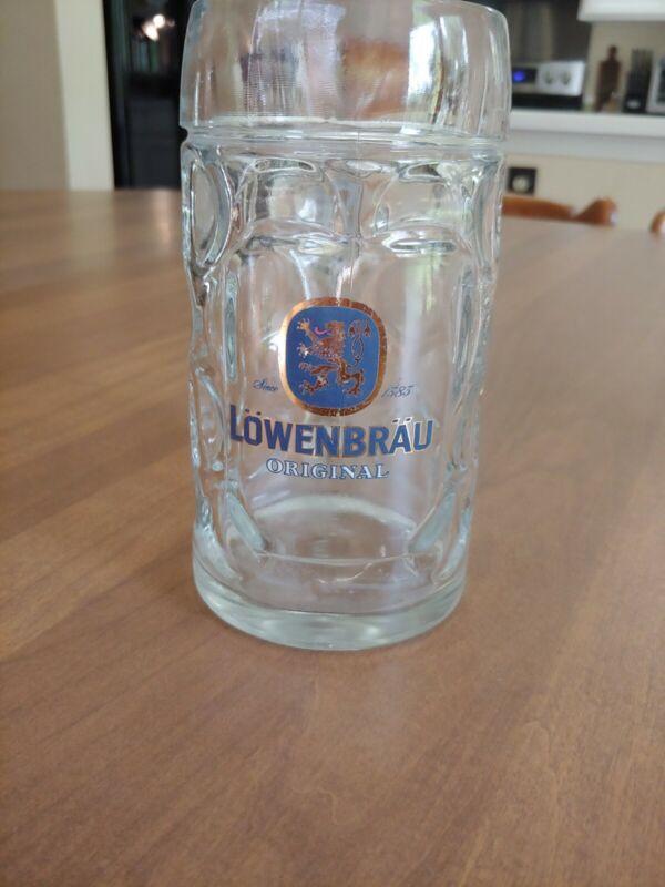 Lowenbrau .5l Dimpled Glass Mug Stein