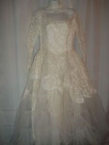 Vintage 1950's 50s White Ivory Tulle Lace Prom Party Wedding Dress Size S As Is