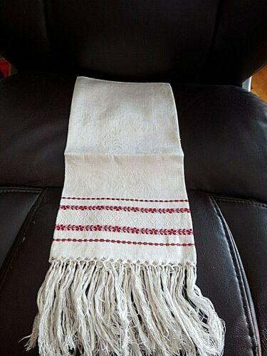 Vintage Victorian Damask Turkey Red Tea Towe~Show Towel ~Fringe~