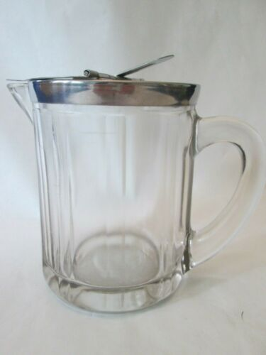 SYRUP PITCHER! Vintage BLOOMFIELD Industries kitchenware: depression CRYSTAL exc