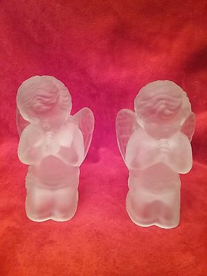 LORD & TAYLOR Frosted Glass Candle Holders with Putti Cherub Angels - Lord Glass Candle