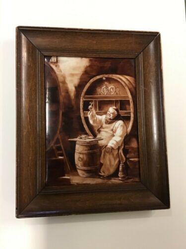 """1902 Painted French Framed Porcelain With Markings """"Monk Drinking"""""""